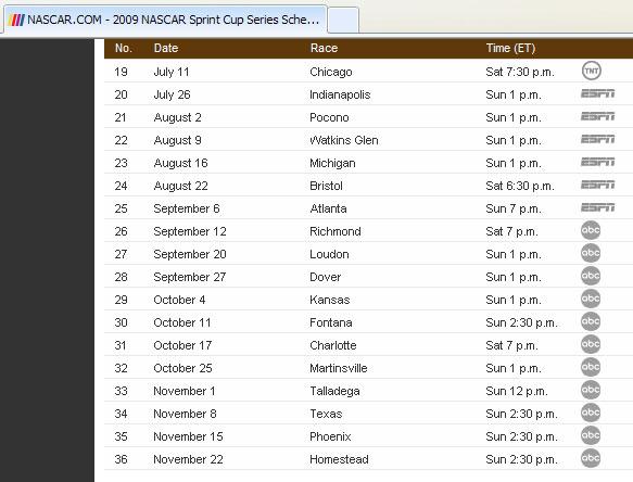 Printable Nascar Sprint Cup Schedule 2013 | Calendar Template 2016