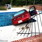 Car Crashes Swimming Pool