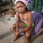Woman Messy Yard